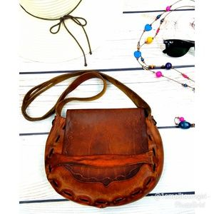 VTG hand tooled leather flap crossbody bag